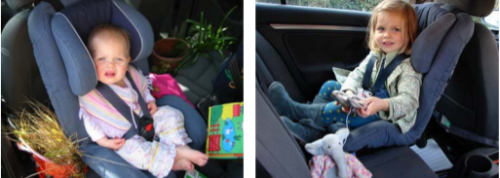 Nine month old child and same child at three and a half years old in same large Nordic rearward facing child seat installed in a VW Golf